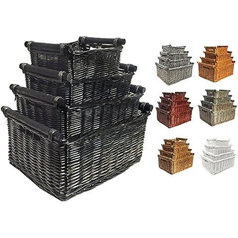 Cesta de cocina con asas de madera cesta de regalo cesta de mimbre, negro, mediano