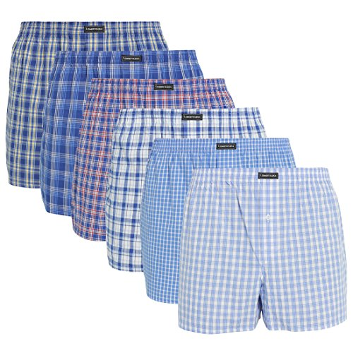 Lower East Herren American Boxershorts, 6er Pack, Mehrfarbig (Business), Gr. Large