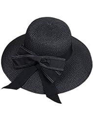 Leisial Sombrero al Aire Libre de Protector Solar Gorra de Playa Sombrero para el Sol Paja Sombrero Gancho de Mano Ocio Verano para Mujer