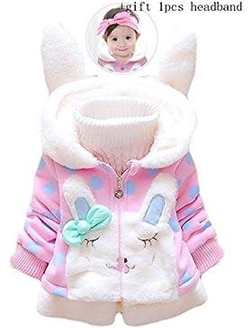 Tkiames Baby Mädchen Mäntel -Jacken , Kapuzenjacke für Kaninchen Fleecefutter mit Bowknot Gefüttert Jacket 0-4...