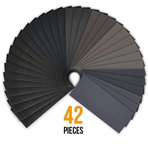 42 Blätter, 120 bis 3000 Korn Trocken / Nass Sandpapier Sortiment, wasserdicht Schleifmittel Sand Papier sortiert für Holz Metall Automotive Schleifen, Möbel und Holz Drehen Finishing, 9 x 3,6 Zoll