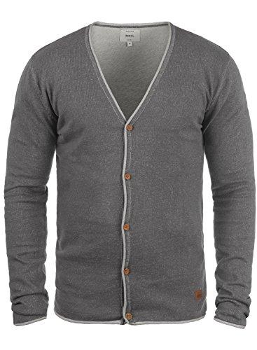 Redefined Rebel Maxen Herren Strickjacke Cardigan Feinstrick Mit V-Ausschnitt und Knopfleiste Aus 100% Baumwolle, Größe:XXL, Farbe:Mid Grey -