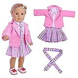 Gaddrt Puppenkleider Kleidung Zubehör für Spielzeug 4PC Student Kleidung Plissee Kleid Uniform Outfit für 18 Zoll American Girl Doll (Rosa)