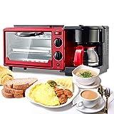 LXYIUN Elektrisches Frühstück, Maschine 3 in 1Multifunktion Frying Grill Pan Mini Oven Kaffee/Milk/Tea Maker für Brot Toasting Coffee Making Egg Frying in Household Red