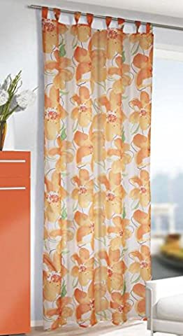 Charming Caribbean Summer Decorative Tab-Top Curtain with Curtain Tape with Large Flowers Decorated Transparent Look Airy and light, Ready-made Curtain 245x 135cm Sizes Looks Great in Your Living Room–From the Kamaca Shop, Polyester, ORANGE / TERRA, 135x245