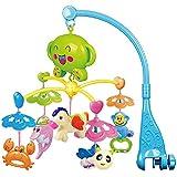 BEETEST Bebé niño música giratoria lecho móvil cuna campana colgante delfín cangrejo caballo abeja mono decoración traqueteo juguetes educativo de aprendizaje Azul
