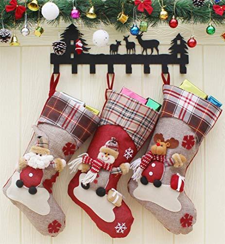 Set calzino natale pupazzo di neve ornamenti natalizi decorazioni sacchetti regalo per bambini e adulti, confezione da 3