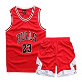 Sokaly Ragazzi Adulto Chicago Bulls Jorden # 23 Golden State Curry Boston Pantaloncini da Basket Jerseys Set di Abbigliamento Sportivo Maglie Top e Shorts (Altezza 100-180cm) (Rosso#23, XL(Altezza))