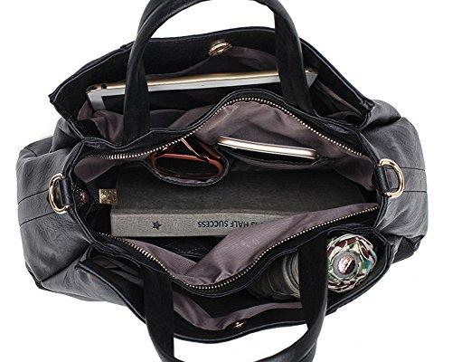Damen Schick PU Leder Handtaschen Schultertaschen Totes + Handgelenktasche Burgunderrot Schwarz