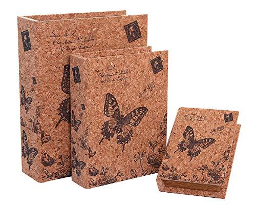 Alice's Collection Set 3 Boxen - Bücher aus MDF & Kork - Schmetterlinge Design - 30 x 24 x 8 cm, xxcm, xxcm -
