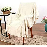 Amabubblezing Manta de Punto Sherpa Throw Gris Knit-Sherpa Rustic Home Decor Manta de Cama (Color : Beige) - Muebles de Dormitorio precios