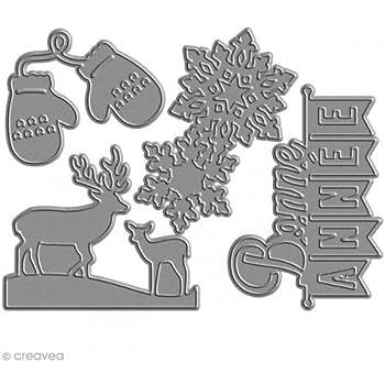 Florilèges Design FDD21428 Outil de Découpe pour Scarpbooking Bonne Année Noir 11,5 x 12,5 x 0,2 cm