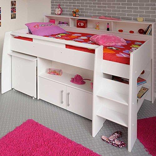 Pharao24 Halbhohes Kinderbett Sinop in Weiß mit Schreibtisch und Kommode -