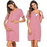 Unibelle Damen Umstandskleid Kurzarm Pflege Nachthemd zum Stillen Nachtwäsche, Rot, M