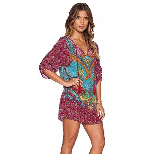 Culater® Femmes Bohemian Vintage Imprimé Style Ethnique Maj d'été Robe rouge 2
