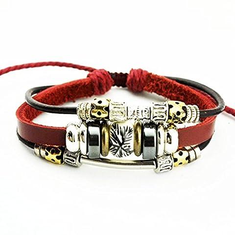 Mehr Spaß Keramik Bead Bright Metal Ring Bindekordeln echtem Leder Armreif rot