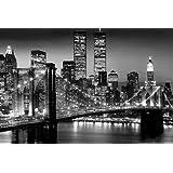 "Póster ""New York - Puente de Brooklyn"" Lights World - Trade Center (91,5cm x 61cm) + embalaje para regalo"