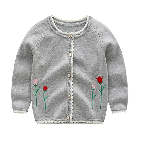 Bebone Baby Mädchen Strickjacken Kinder Cardigan Herbst Babykleidung (Grau, 12-18 Monate)