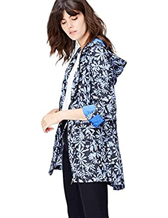 FIND Women's Raincoat in Floral Pac-a-Mac, with Drawstring Hood and Waist and Zip Fastening, Blue (Blue Leaf Print), 8 (Manufacturer size: X-Small)