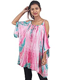 Secret Bazaar Women's Rayon Cold Shoulder Tie-Dye Printed Top(Multicolor)