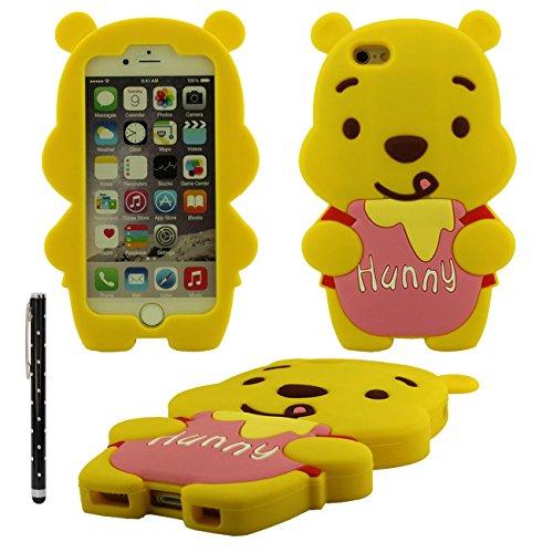 Verschiedene Farben Katze Form weiche Silikon-Kastenabdeckung case für Apple iPhone 6 4.7 inch Hülle mit Touch-Screen-Stift(gelb) pink