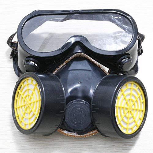 Schutzfilter, Doppel-Gasmaske, Silikon, gegen Staub, Sprühfarbe, Atemschutzmaske, Schutzmaske mit Brille, Schutzmaske, schwarz