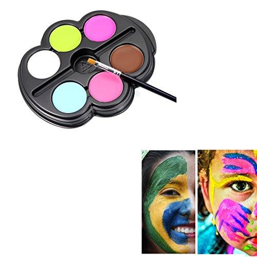 Saebye Gesicht Bodypainting Sicher Nicht Giftig, 6 Lebendige Farbpalette Ideen für Kinder, Parteien, Körperfarbe, Halloween, Thema-Parteien, Cosplay und Weihnachten