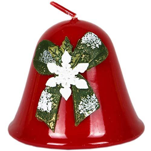 Vela Navidad campana 75x 85mm Copo de nieve esmalte rojo Campana