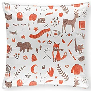 BoBKLKM Satin Pillow Cases 40 x 40 cm AUTUMN-FALL PATTERN Theme Pillow Cover Printed Square, multi-coloured for Livingroom Sofa Bedroom Decoration 16 x 16 Inch (Twin sides)