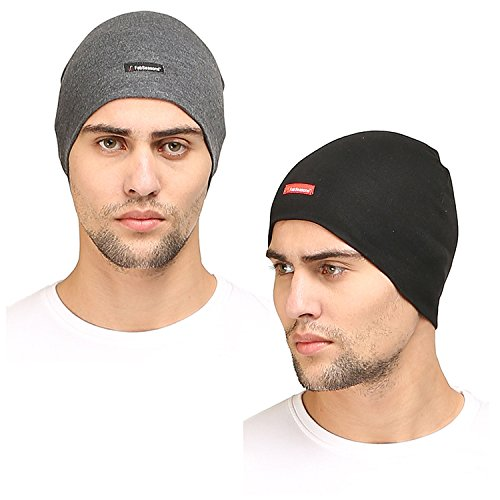 FabSeasons Cotton Skull Cap ideal for all Summer & Winters. Can be used under Helmet. Combo Pack of 2 (Black Darkgray)