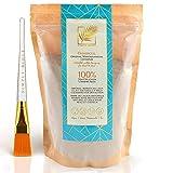 Simply Bioty Ghassoul mit Maskenpinsel - Marokkanische premium Lavaerde - Bio vegane Wascherde Tonerde - Mineralische Gesichtsmaske Haarwäsche - 100% natürliches Peeling 1kg
