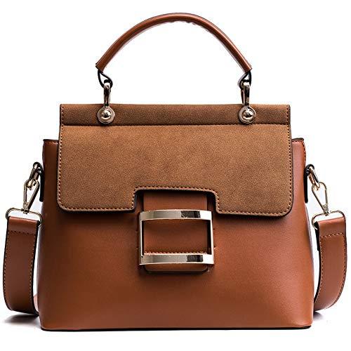 Umhängetaschen,Frauen Schultertasche,Damen Handtaschen Crossbody-Tasche,Mode Scrub Top-Griff Taschen,Weiblichen Freizeitaktivitäten Einfache Breite Gurt Messenger Bags Small Square Bag Braun -