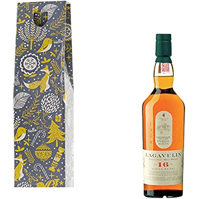 Lagavulin 16 Year Old Single Malt Scotch Whisky in Xmas Gift Box With Handcrafted Gifts2Drink Tag