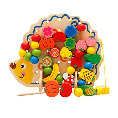 ogisches hölzernes Tier besaitet Perlen Spielzeug Igel geformte Perle Spiel für Kinder Kinder Kleinkinder ()