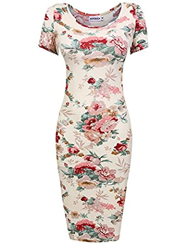 Hotouch Plus Size Women Sexy Vintage Flower Print Casual Mini Dress Beige XXL