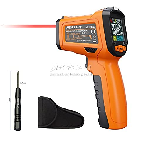 NKTECH NK-200C LCD Digital Laser Infrared IR Gun Thermometer -50~800°C Ambient Temperature Thermocouple K-Type -40~500°C 12:1 Non-contact Tester with Alarm Adjustable