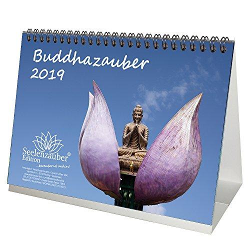 Buddhazauber · DIN A5 · Premium Tischkalender / Kalender 2019 · Buddha · Weisheit · Lehre · Wiedergeburt · Indien · Siddhartha Gautama · Geschenk-Set mit 1 Grußkarte und 1 Weihnachtskarte · Edition Seelenzauber