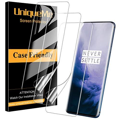 UniqueMe [3 pièces] Protection écran pour Oneplus 7T Pro Film, [Adsorption anhydre] [Film Flexible] Soft HD TPU Clear Anti-Rayures avec Garantie de Remplacement à Vie