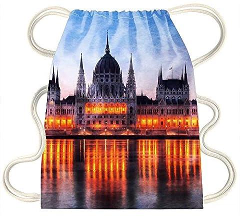 irocket–Awesome Regierung Building in Budapest bei Dämmerung–Kordelzug Rucksack Sack Tasche