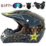 Aili Motocross Helm Cross Helme Motorradhelm Schutzhelm für Motorrad Crossbike Off Road Enduro Sport mit Handschuhe Sturmmaske und Brille(4-teiliges Set),008,M