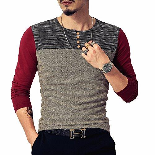 LOGEEYAR Herren Ausgestattet Kurzarm Kontrast-Farben-Nähte-T-Shirt X-Large L-Rot -