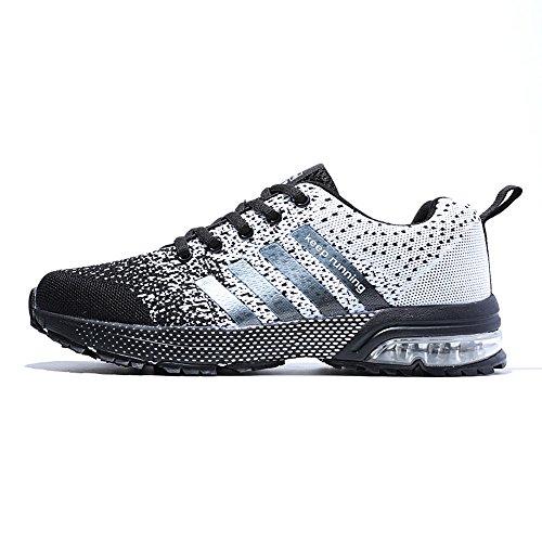 PAMRAY Herren Damen Sneaker Trekking Running Fitness Laufschuhe Air Sohle Low Top Mesh Turnschuhe 36-46 Schwarz Schwarz-Weiss Blau Rot Schwarz-Weiß