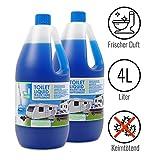 Toilettenzusatz 4 Liter für Camping Toiletten Abwassertank keimtötend, frischer Duft ideal für Wohnwagen, Wohnmobil und Boot