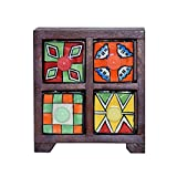 #9: 4 Drawer Wooden Chest With Handpainted Ceramic Drawers (With Stoppers) - Organiser Box - Jodhpur Handicraft