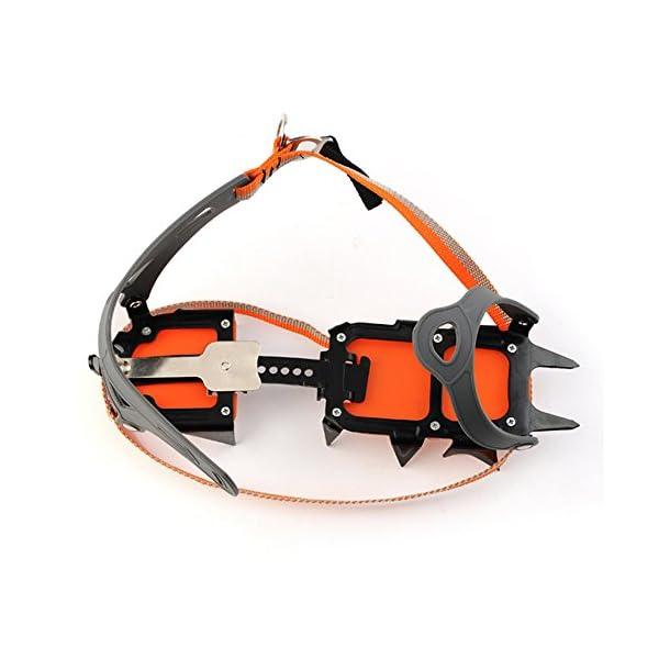Docooler 14 Puntos Pinzas Dentadas Crampones Escalada en Hielo de Acero al Manganeso Crampón Dispositivo de Tracción (Naranja) 3