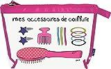 Incidence Paris 61589 Trousse Krystal Mes Accessoires de Coiffure Transparent et Rose Fermeture Zip PVC et Nylon, 31 cm, Transparent