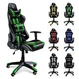 Diablo X-One silla gamer silla escritorio cuero artificial almohada lumbar cargable hasta 150 kg función de inclinación selección de color (negro-verde)