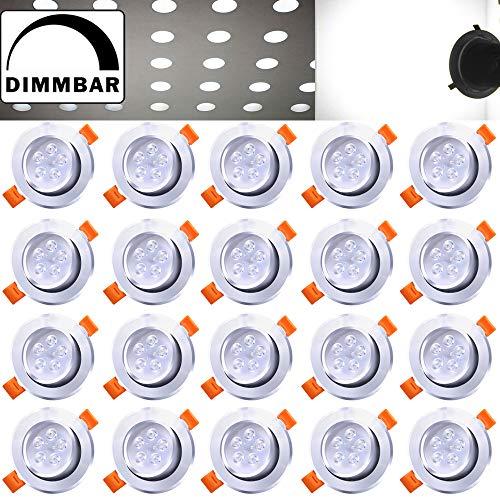 Hengda® 20X LED Einbauleuchten, 5W ersetzt 40W, Kaltweiß, Dimmbaren, 6500 Kelvin, 420±15LM, Deckeneinbauleuchte für Wohnraum, Büro, Flur, Wand, Decke