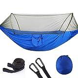 shutian Parachute Tissu Vitesse Automatique Tente Ouverte Type Camping en Plein air moustiquaire hamac Moustique hamac avec moustiquaire, Bleu 290 * 140CM