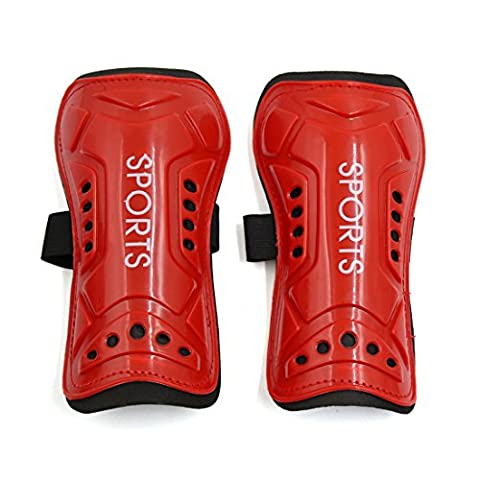 sourcingmap® 2 Pcs Kids Football Shin Pads Soccer Guards Sports Leg Protector Protective Gear Red